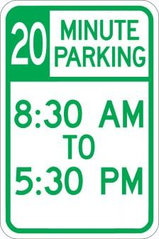AR-158 20 Minute Parking (Time Limit) Sign
