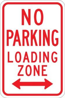 AR-205 No Parking Loading Zone Sign