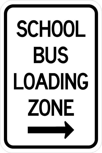 VARIOUS SIZES SIGN /& STICKER OPTIONS - BUS ZONE SIGN LEFT ARROW