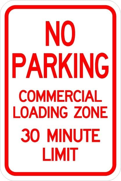 No Parking Commercial Loading Zone Sign AR-214