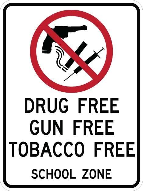 Drug Free Gun Free Tobacco Free Signs AR-773