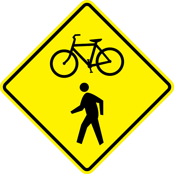Bicycle And Pedestrian Crossing Sign- W11-15 - Standard