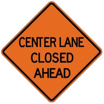 Center Lane Closed Ahead Roll-Up Construction Sign W9-3-RU