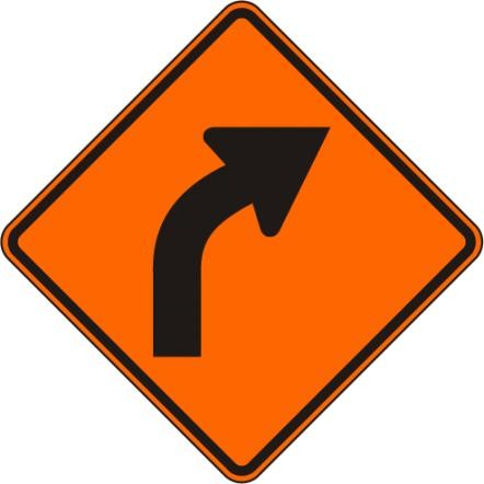 Construction Curve Sign W1-2R-O