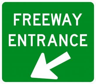 D13-3a Freeway Entrance Signs With Arrow
