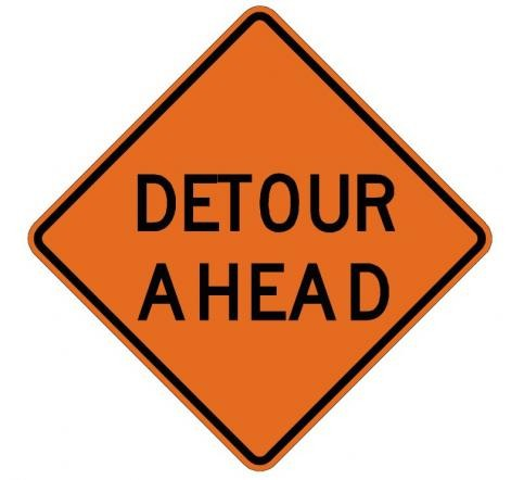 Detour Ahead Roll-Up Construction Signs W20-2-RU