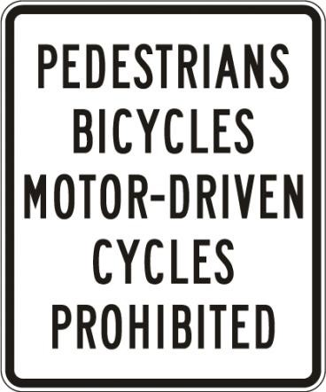Motor-Driven Cycles Prohibited R5-10a