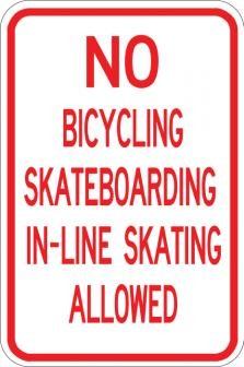 No Bicycling Skateboarding
