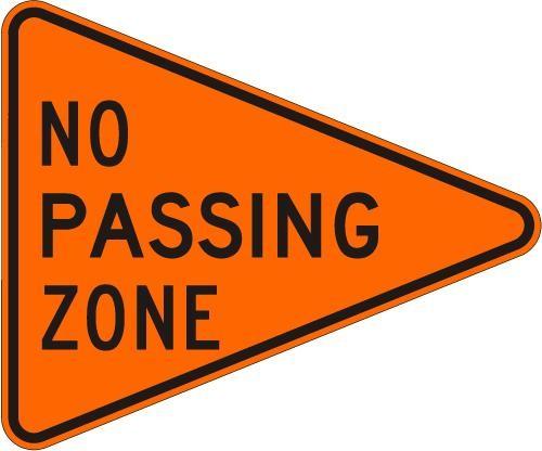 No Passing Zone W14-3-O