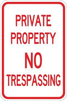 AR-119 Private Property No Trespassing Sign