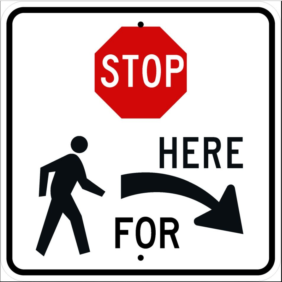 Stop Here for Pedestrians Right Sign R1-5bR