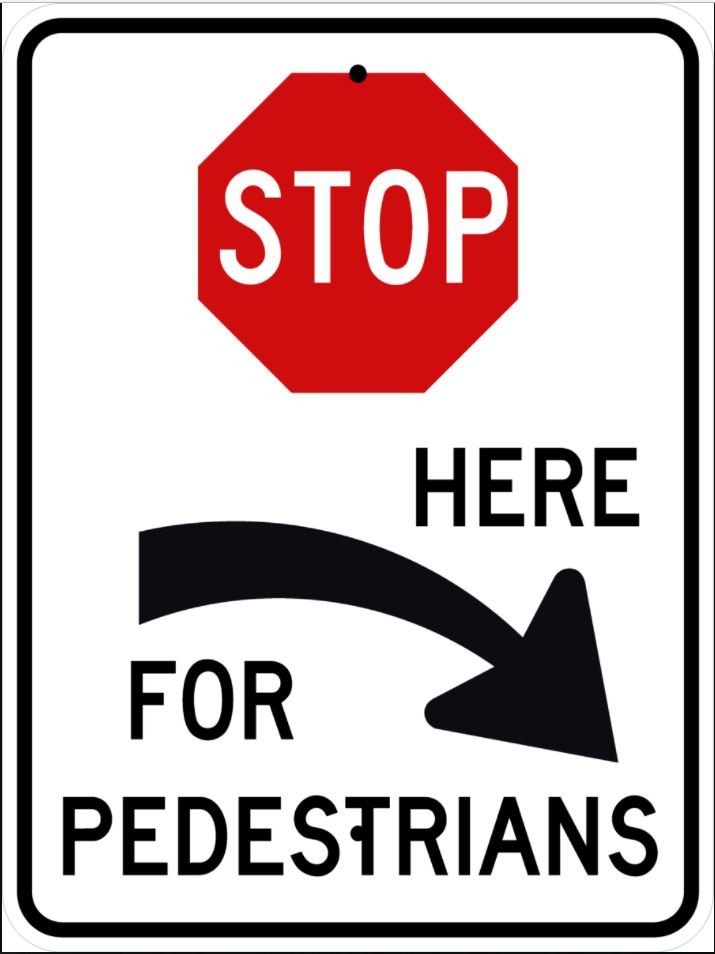 Stop For Pedestrians Right Sign R1-5cR