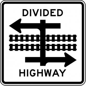 Divided Highway Crossing Sign R15-7