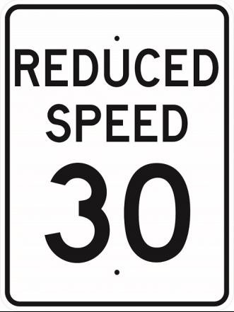 Reduced Speed 30 Sign R2-5b