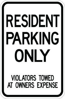 Resident Parking Only Violator Sign AR-137