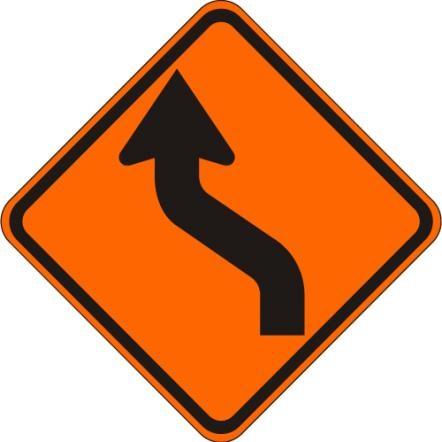 Reverse Curve Left Sign W1-4L-O