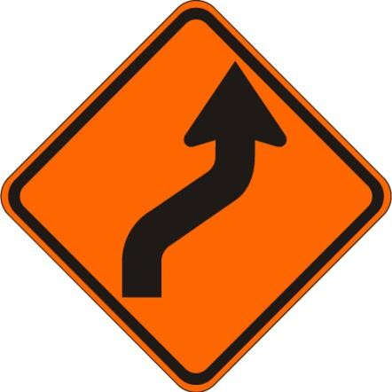Reverse Curve Right Sign W1-4R-O