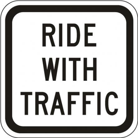 Ride With Traffic Plaque R9-3c
