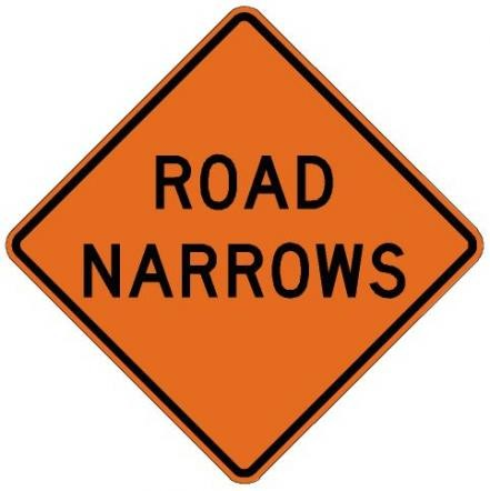 Road Narrows Roll-Up Construction Signs W5-1-RU