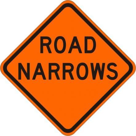 Road Narrows Sign W5-1-O