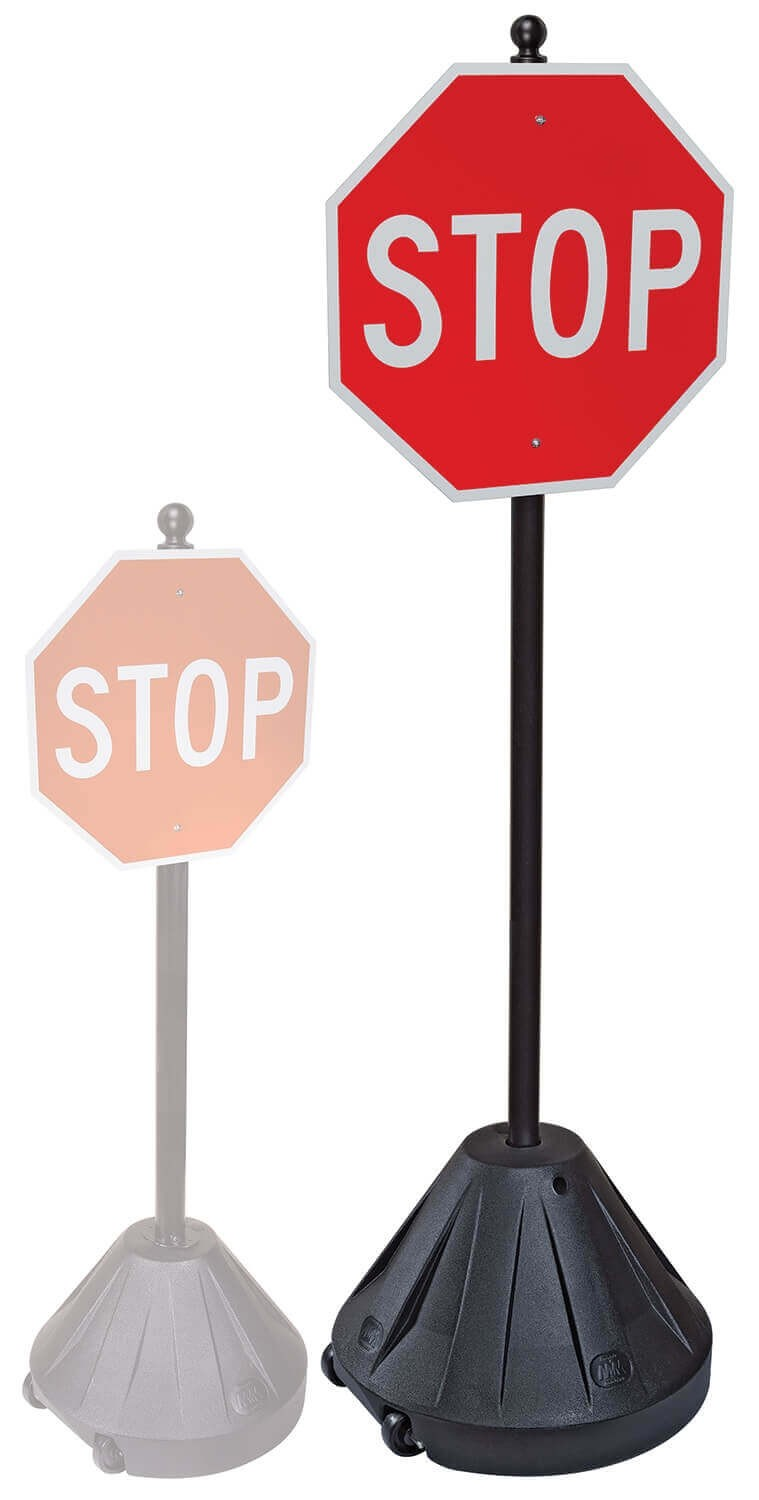 STOP sign Portable Pole 2 Rolling Sign Holder