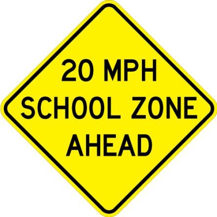 School Speed Zone Ahead S4-5a