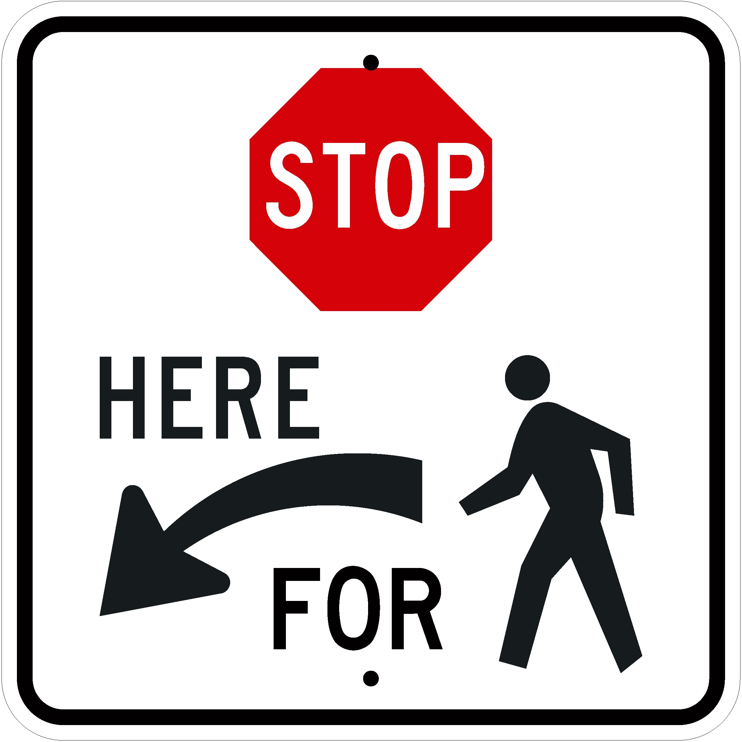 R1-5bL Stop Here for Pedestrians Left Sign