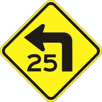 Turn With Advisory Speed Left W1-1AL