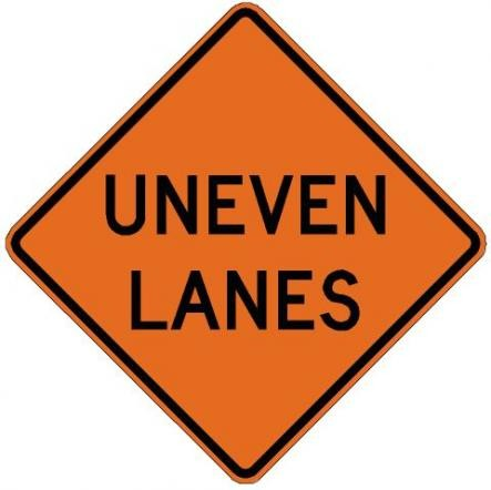 Uneven Lanes Roll-Up Construction Signs W8-11-RU