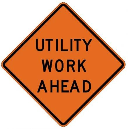 Utility Work Ahead Roll-Up Construction Signs W21-7-RU