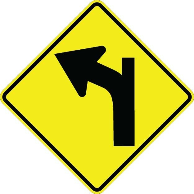 Curve Left With Side Road Sign W1-10BL