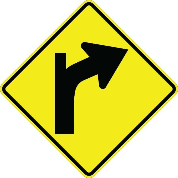 Curve Right With Road Sign W1-10BR
