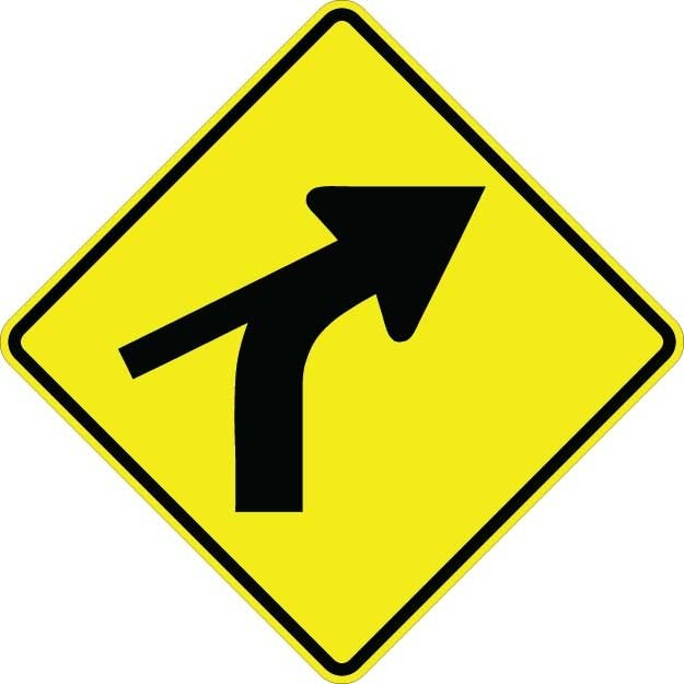 Curve Right With Side Road Sign W1-10CR