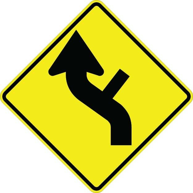 Curve Left With Side Road Sign W1-10DL