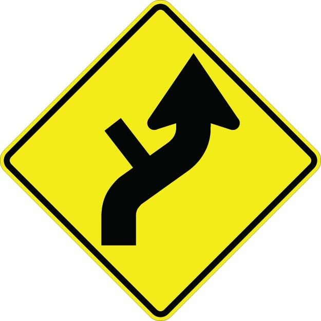 Curve Right With Side Road Sign W1-10DR