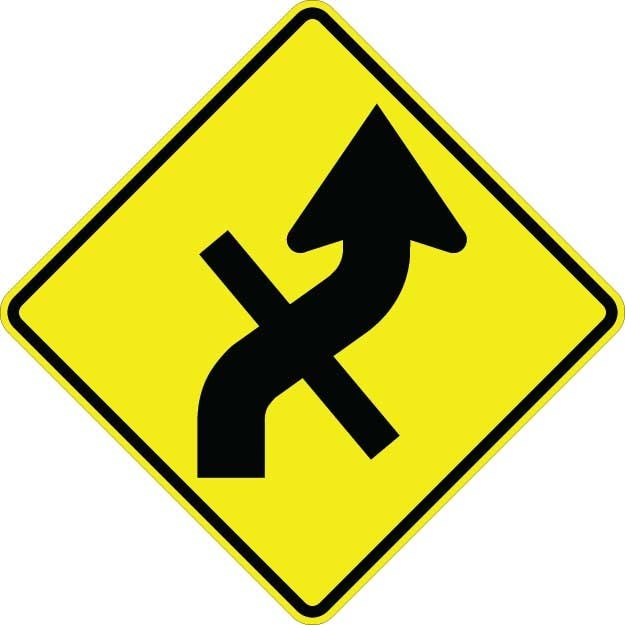 Curve Right With Cross Road Sign W1-10ER