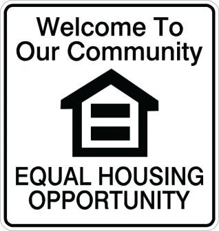 Welcome To Our Community Equal Housing Opportunity Sign