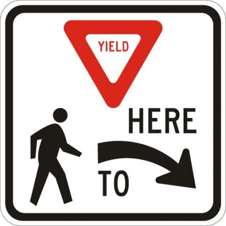 Yield to Pedestrians Here R R1-5R