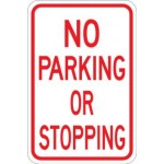 AR-215 No Parking Or Stopping Sign