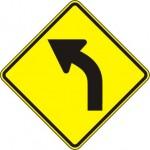 Curve Left Warning Sign W1-2L