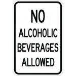 No Alcoholic Beverages Allowed Sign AR-116