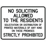 No Soliciting Allowed To The Residents AR 118