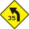 Curve Advisory Speed Left Sign