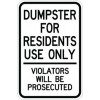 Dumpster For Residents Use