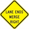 Lane Ends Merge Right Sign