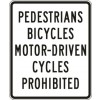 No Pedestrians Bicycles Motor-Driven Cycles Sign