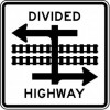 Divided Highway With Light Rail Transit Crossing Sign