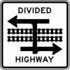 Light Rail Divided Highway Symbol (T Intersection) Sign