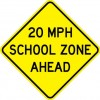 School Speed Zone Ahead Sign