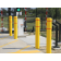 Yellow bollard covers with red reflective tape